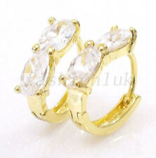 14K Yellow Gold Plated Clear Oval Simulated Diamond Small Girl Hoop Earrings
