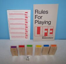 1985 Selchow & Righter Life Remembers Game Rules Score Pad Wood Tokens Game Part