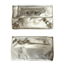 BALENCIAGA metallic silver 'Giant Envelope' studded leather clutch bag