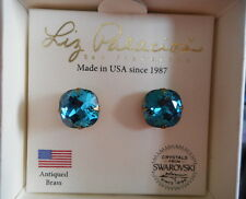 Liz Palacios rich teal Swarovski crystal cushion cut post earrings NIB