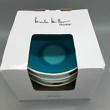 Nicole Miller Crackled Glass Turquoise Aqua Stoneware SOUP BOWL Cereal Set 4 NEW