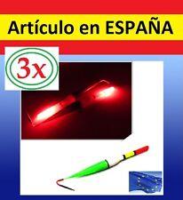 3x boyas de pesca nocturna con luz LED roja flash linterna pesca caña pescar