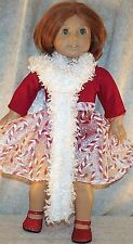 "Doll Clothes fit American Girl 18"" inch Ice Skate Candy Cane Skirt Red Leotard"