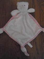 Russ pink teddy bear comfort blanket with striped edges, knotted corners