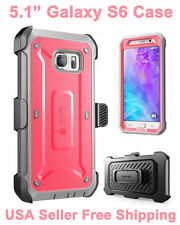 Genuine SUPCASE Galaxy S6 Full Body Rugged Holster Case & Screen Protector Pink