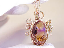 AMETRINE PENDANT LARGE! 24.78 CT BRILLIANT FACETED PEAR  FACETED GOLD SETTING