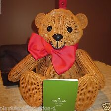 KATE SPADE FLAVOR OF THE MONTH WICKER TEDDY BEAR HANDLE HELD PURSE-RARE!