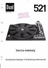 Service Manual-Anleitung für Dual 521