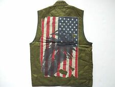 New Ralph Lauren Denim and Supply Army Green Quilted Indian Flag Print Vest XXL