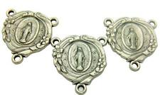 MRT Lot 3 Miraculous Mary Medal Rosary Centerpiece Antiqued Silver Plate Italian