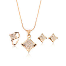 Rose Gold Crystal Rhinestone Zircon Plated Necklace Earrings Ring Jewelry Set