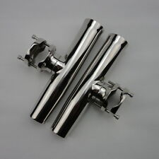 """2X StainlessTournament Style Clamp on Fishing Rod Holder Rails 1-1/4"""" to 2"""""""