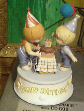 Enesco Country Cousins Katie and Scooter,Musical Box Happy Birthday