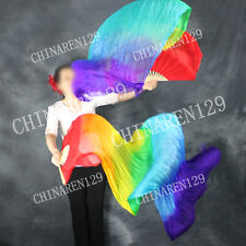 PAIRS 1.8M seven color BELLY DANCE 100% SILK FAN VEILS (1 L+1 R)  free shipping