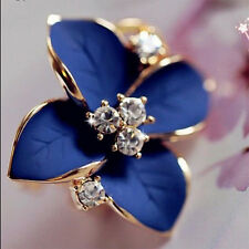 Perfect Lady Girls Blue Flower Charm Crystal Ear Stud Earrings korean style