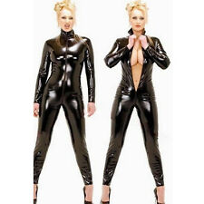 Sexy Womens Mens Catsuit Jumpsuit Faux Leather Wetlook Romper Clubwear Costume