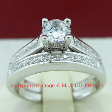 Real Solid Silver Lab Diamond Engagement Wedding 2 Rings Set White Gold Finish