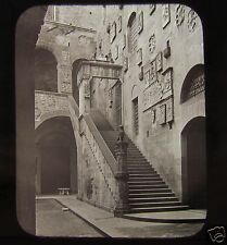 GWW Glass Magic Lantern Slide STAIRCASE IN COURT BARGELLO FLORENCE C1890 ITALY