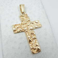 NEW Solid 10K Yellow Gold Mens Nugget Cross Crucifix Pendant Charm, 5.6 grams