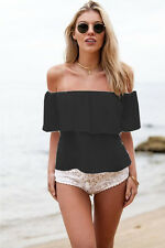 2016 Summer Women Sexy Off Shoulder Boho Chiffon Blouse Vest Shirt Crop Tops