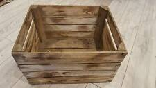 6 x BURNT TOURCHED WOOD VINTAGE WOODEN APPLE FRUIT CRATE RUSTIC OLD BUSHEL BOX