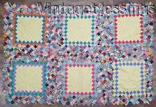 "Small VINTAGE 1930s Postage Stamp QUILT TOP 59"" x 39"" Crib or Table"