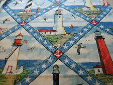 1 Yd Nautical Quilt Fabric Cheater Quilt S Sea Lighthouses Sail Boats Sea Gulls