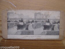 Ancienne photo stereo PARIS bateau a l ecluse de la Monnaie