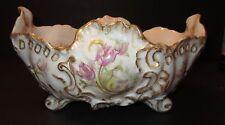 Antique Paris Porcelain H.P. Footed Centerpiece Bowl, Tulips & Shells, Gilded