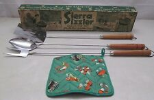 Vtg Sierra Sizzler 4-Piece BBQ Set Spatula Fork Spoon Hot Pad - Outdoor Griling