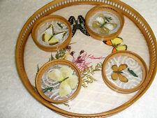 Vintage Set Wooden and Glass Serving Tray and Coasters Butterflies