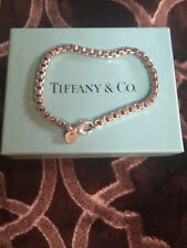 Auth Tiffany & Co 4mm Sterling Silver Venetian Box Link Chain Bracelet - 7.5""