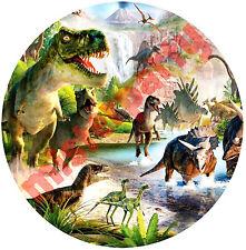 Cialda - Ostia per torte Dinosauri m1 - Tonda e Personalizzabile