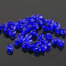 100 Pieces Swarovski 4mm Bicone Crystal beads C Dark-blue .
