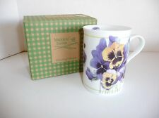 Marjolein Bastin Floral Mug Pansies Avon 1997 NIB Enjoy Simple Pleasures