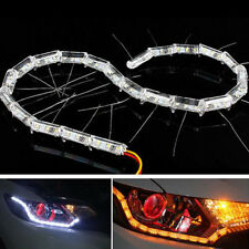 2 x White LED Neon Strips For Car 12V Light Van Motorbike Flux Ribbon 16 Bulbs