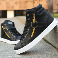 Hot Sale Mens Shoe Fashion Leather Shoe Casual High Top Sneaker GYM Trainer Shoe