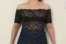 PROVOCATION SEXY OFF SHOULDER BLACK LACE BODY / BODYSUIT ONE SIZE RRP £120