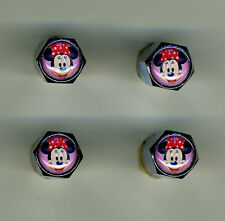 Minnie Mouse 4 Chrome Plated Brass Tire Valve Caps Car & Bike Minnie Mouse
