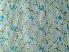 PRESTIGIOUS HENRIETTA AZURE BLUE FLORAL EMBROIDERED STRIPE FABRIC CURTAIN FABRIC