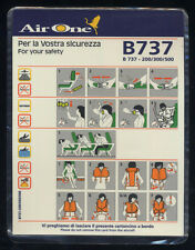 AIR ONE Airline Safety Card B737 200/300/500 PLASTIC no ALITALIA sc647 ax