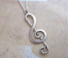 "Kitsch I Love Music Silver Alloy Treble Clef Musical 18"" SP Necklace New in Bag"