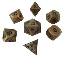 Antique Gold Color- Solid Metal Polyhedral Role Playing Game (RPG) Dice Set