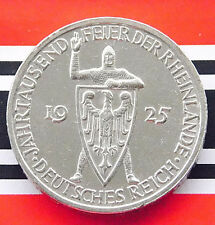 VERY RARE GERMAN Coin 3 MARK RM 1000 YEARS of RHINELAND 1925 G Silver WEIMARER