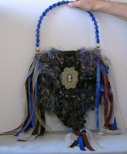 $295. COUTURE One of a Kind PERLA LICHI Eclectic HANDBAG Ribbon & BEADS Designer