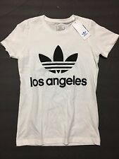 NEW adidas Original Womens Los Angeles White Boyfriend Trefoil T-Shirt Sz SMALL