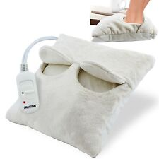 ELECTRIC HEATED FOOT FEET WARMER FLEECE SUEDE COMFY CUSHION RELAXING MASSAGER