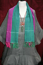 """AUTHENTIC CAMBODIAN KROMA ethnic scarf HAND WOVEN SILK bright shimmery 52"""" x 15"""""""