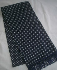 Men's Retro Navy Blue Polka Dot Skinny Fringed Scarf (Handmade New)