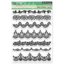 PENNY BLACK RUBBER STAMPS CLEAR LACE TRIMS STAMP SET